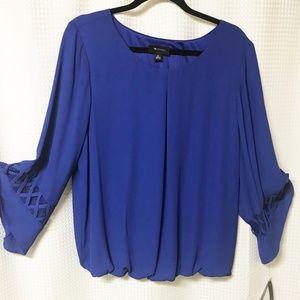 AB Studio Cobalt Blue Bell Sleeve Blouse